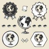 Vintage earth globe icon symbol emblem label Stock Photos
