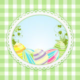 Vintage easter background and ginghaml Stock Image