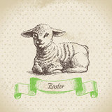 Vintage Easter background with lamb Stock Images