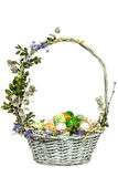 Vintage Easter basket on a white background. Holiday, Food. Gift Stock Photo