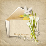 Vintage Easter card for congratulation. with old card, bunny and Stock Images