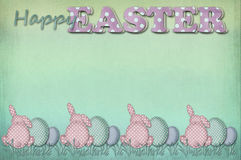 Vintage easter card with greetings and dots pattern eggs and rab Royalty Free Stock Image