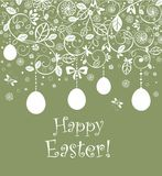 Vintage easter card with hanging egg Royalty Free Stock Images