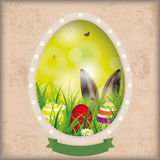 Vintage Easter Card Hole Bokeh Hare Ears Stock Photos