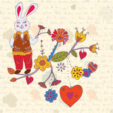 Vintage easter card with rabbit Royalty Free Stock Photography