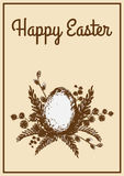 Vintage Easter card. With spring plants and eggs Royalty Free Stock Photography
