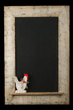 Vintage Easter Chicken Roosters Chalkboard Reclaimed Wood Frame Stock Photography