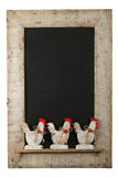 Vintage Easter Chicken Roosters Chalkboard Reclaimed Wood Frame Stock Images