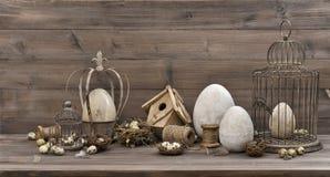 Vintage Easter decoration eggs nest birdcage Nostalgic still lif Royalty Free Stock Photos