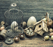 Vintage easter decoration with eggs. Nostalgic still life. Retro Royalty Free Stock Image