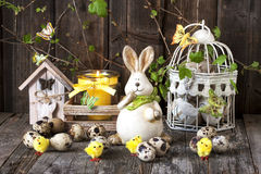 Vintage easter decoration with eggs and rabbit Royalty Free Stock Photo