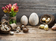 Vintage easter decoration, eggs, red tulip Stock Photography