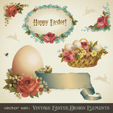 Vintage easter design elements. Set of victorian easter design elements for greeting cards or stickers