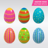 Vintage easter egg design set. Set of colorful painted Easter eggs vector illustration on grey background different style painted traditional easter eggs image Royalty Free Stock Photos