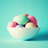 Vintage easter eggs in a plate Royalty Free Stock Photo