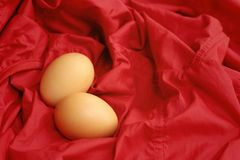 Vintage easter eggs on a red background Stock Photos