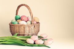 Vintage easter eggs and tulips Royalty Free Stock Photo
