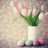 Vintage easter eggs and tulips Royalty Free Stock Image
