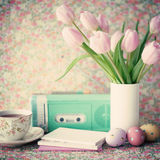 Vintage easter eggs and tulips Royalty Free Stock Images