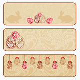 Vintage Easter horizontal banner set. Template for a Web site. Vector EPS10 illustration Royalty Free Stock Photos