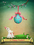 Vintage Easter postcard greeting Stock Images