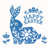 Vintage Easter Rabbit with ornament flowers, leaves and eggs Royalty Free Stock Photos