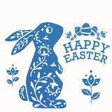 Vintage Easter Rabbit with ornament flowers, leaves and eggs Royalty Free Stock Photography