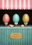 Vintage Easter Showcases. Greeting Card Easter Vintage showcase with Easter eggs.  Computer graphics Royalty Free Stock Images