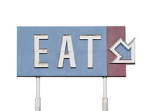 Vintage Eat Arrow Sign. Vintage blue eat arrow sign near historic route 66 Royalty Free Stock Image