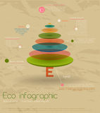 Vintage eco infographic with fir-tree. Vector illustration EPS10 Stock Photos