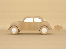 Vintage ecological car model made from recycled pa vector illustration
