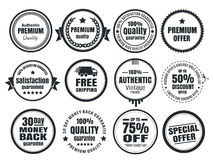12 Vintage Ecommerce Badges. Twelve scalable vector old school vintage eCommerce badges Royalty Free Stock Image