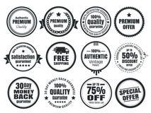12 Vintage Ecommerce Badges. Twelve scalable vector old school vintage eCommerce badges stock illustration