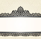Vintage Ecru invitation design. With black decoration Royalty Free Stock Photography