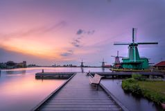 Old Skool. A vintage edit of my first trip ever to the typical Dutch windmills of the Zaanse Schans Stock Photography
