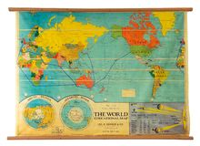Vintage education color world map. Isolated on white royalty free stock image