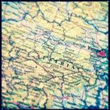 Vintage effect Austria Travel Map Stock Photo