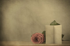Vintage Effect Rose with Blank Card Royalty Free Stock Photo