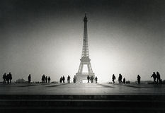Vintage Eiffel Tower. Black and White Photography from 1985 Royalty Free Stock Photos