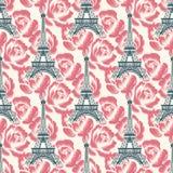 Vintage Eiffel tower seamless pattern vector illustration