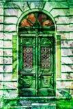 Vintage elaborate wooden door with green man. Vintage elaborate wooden door with greenman concept Stock Image