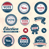 Vintage election badges. Set of vintage retro 2012 election badges and labels Royalty Free Stock Photo