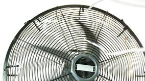 Retro Fan over white close up. Vintage Electric Desk Fan over White Background Retro Metal Ventilator stock footage