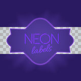 Vintage electric framework with bright neon lights. Purple light with transparent glow. Vector illustration Royalty Free Stock Images