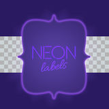 Vintage electric framework with bright neon lights. Purple light with transparent glow. Vector illustration Stock Image