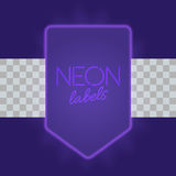 Vintage electric framework with bright neon lights. Purple light with transparent glow. Vector illustration Royalty Free Stock Photos