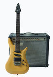 Vintage electric guitar and rare vintage amplifier Stock Photography