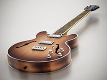 Vintage electric guitar standing on gray background. 3D illustration.  Stock Photography
