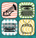 Vintage electric icon set Royalty Free Stock Image