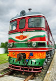 Vintage Electric Locomotive. Vintage soviet electric locomotive at cloudy day Stock Image